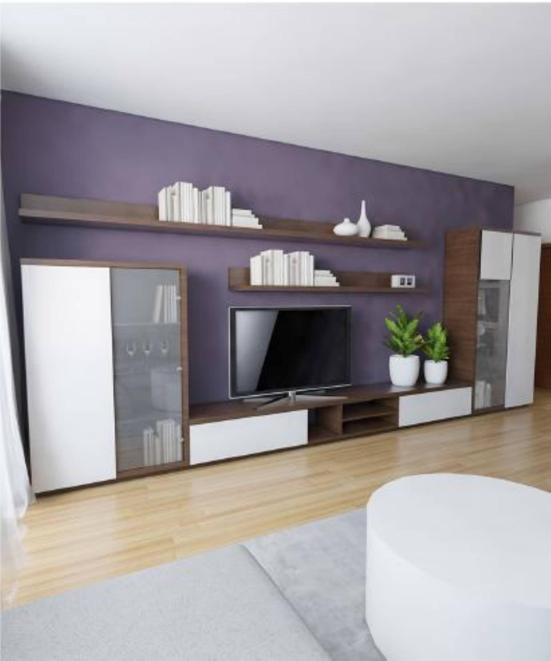 5627d8e126ce Obyvacka biela leskla + tmave drevo - New Design - Výroba nábytku na mieru