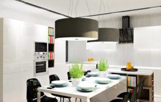 kuchynská-linka-biela-lesklá-s-jedálenským-stolom-